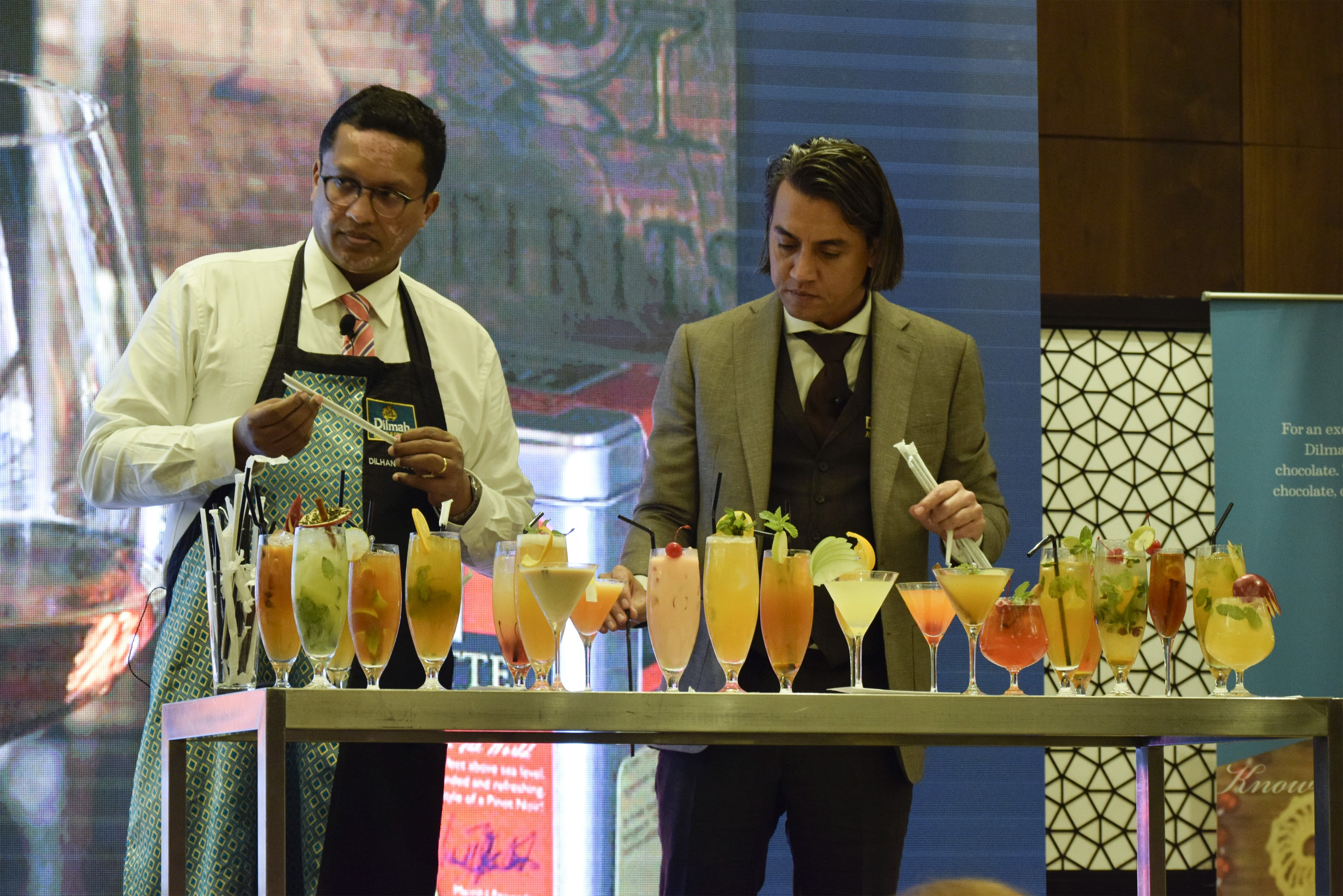 Dilhan & Robert judging the best tea inspired drink