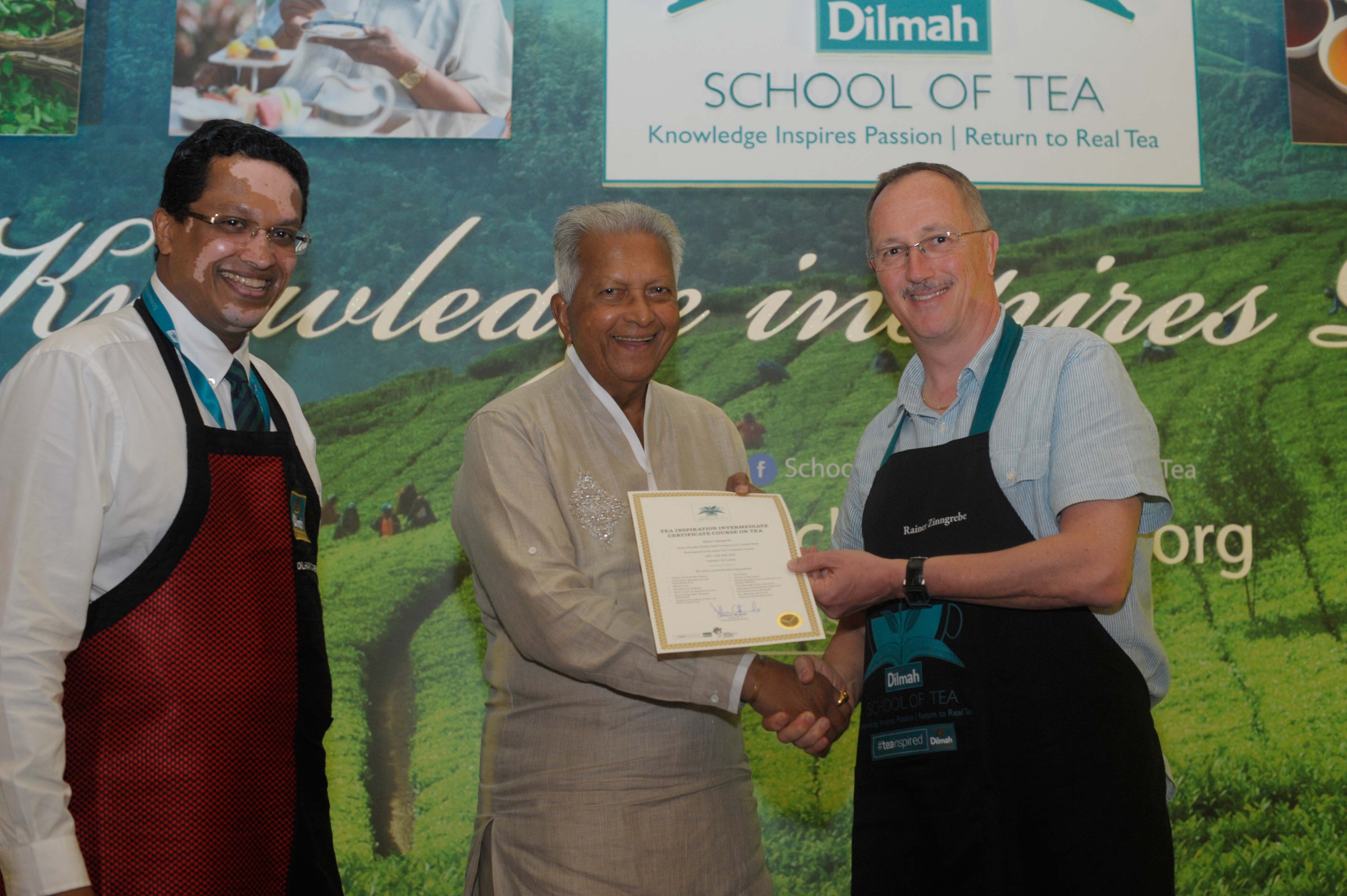 School of tea certificate presentation to Rainer Zinngrebe