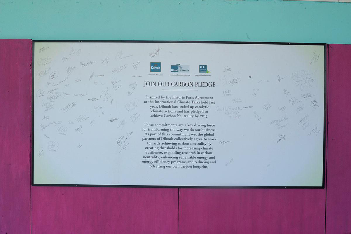 Join our carbon pledge - Autograph of all delegates who visit MJF centre