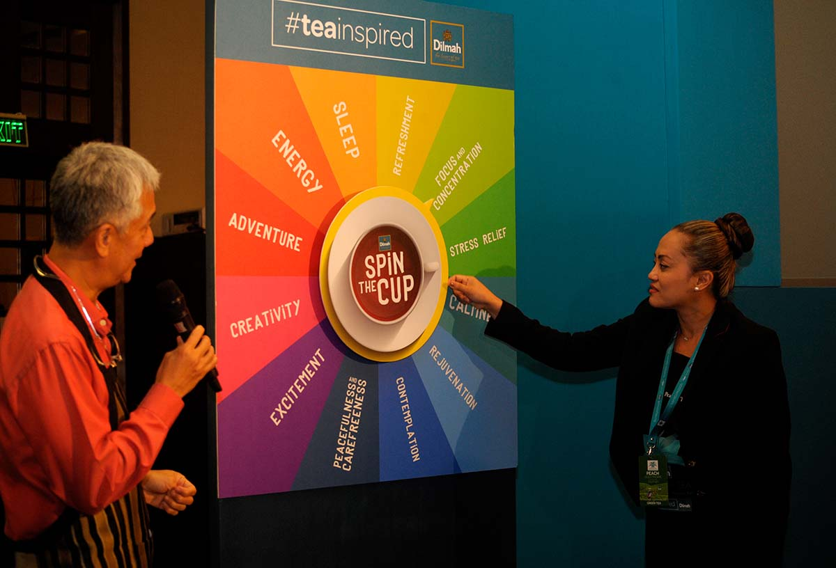 One person from each group spins the mood wheel