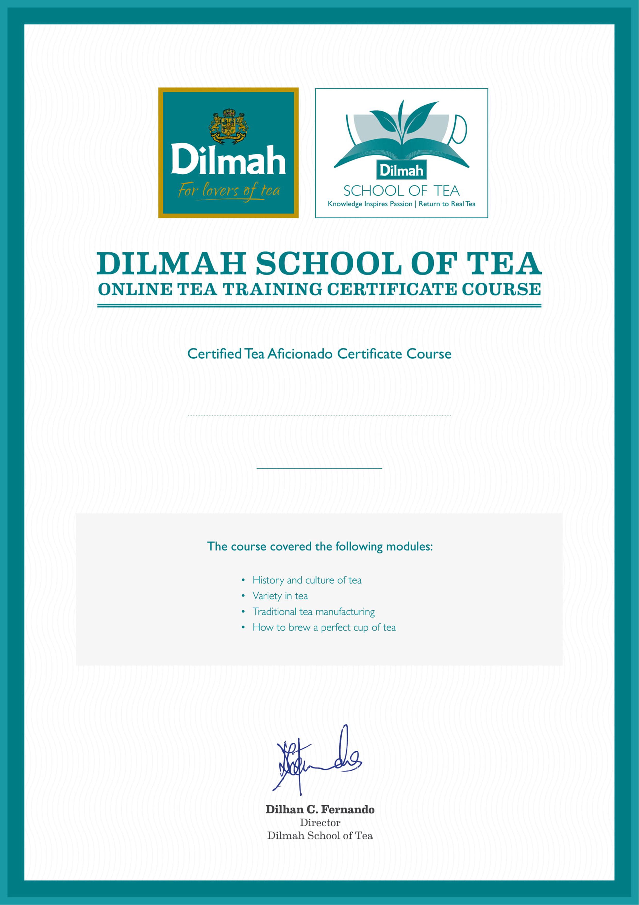 Certified Tea Aficionado Certificate Course