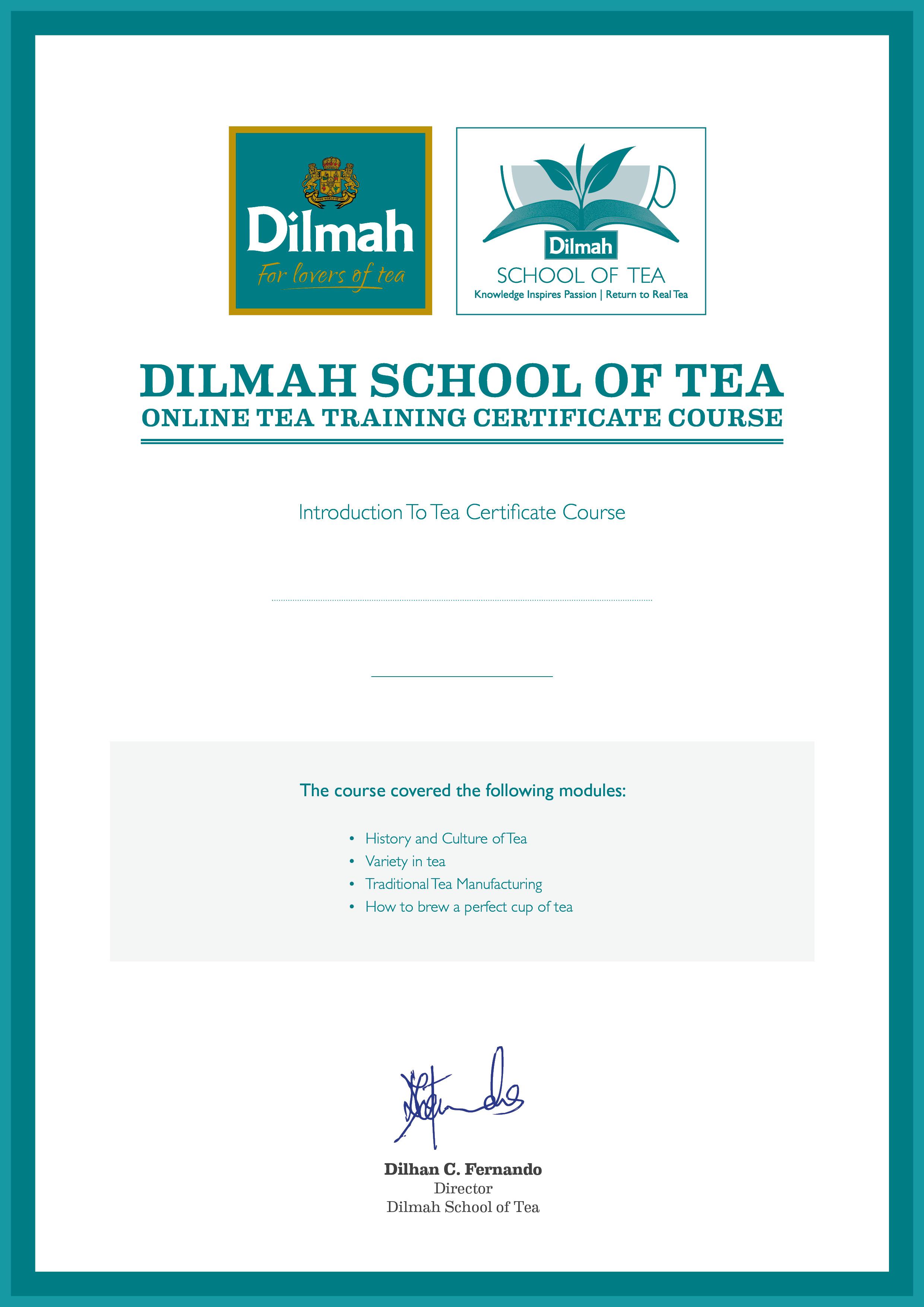 tea certificate dilmah training course courses